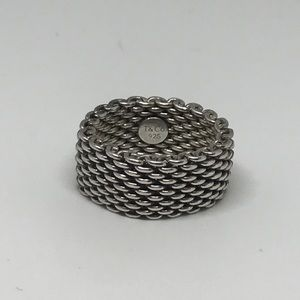 Tiffany & Co size 7 925 mesh sterling silver ring